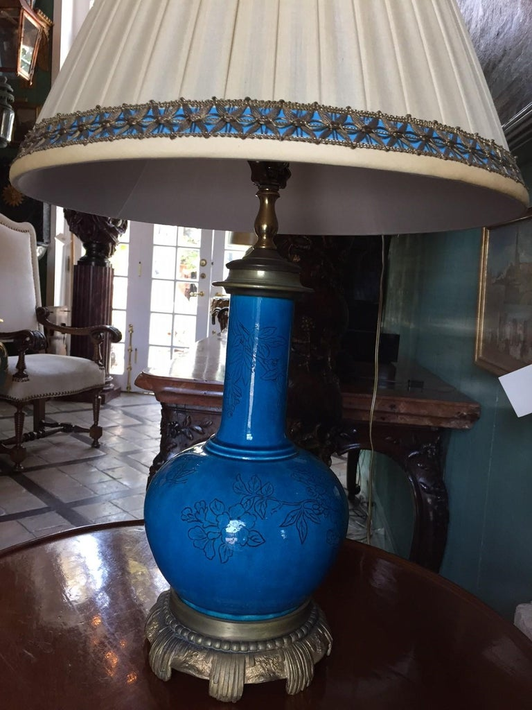 18th C. Table Lamp Ceramic Baluster Chinese blue Vase & Shade Finial Antiques LA For Sale 6