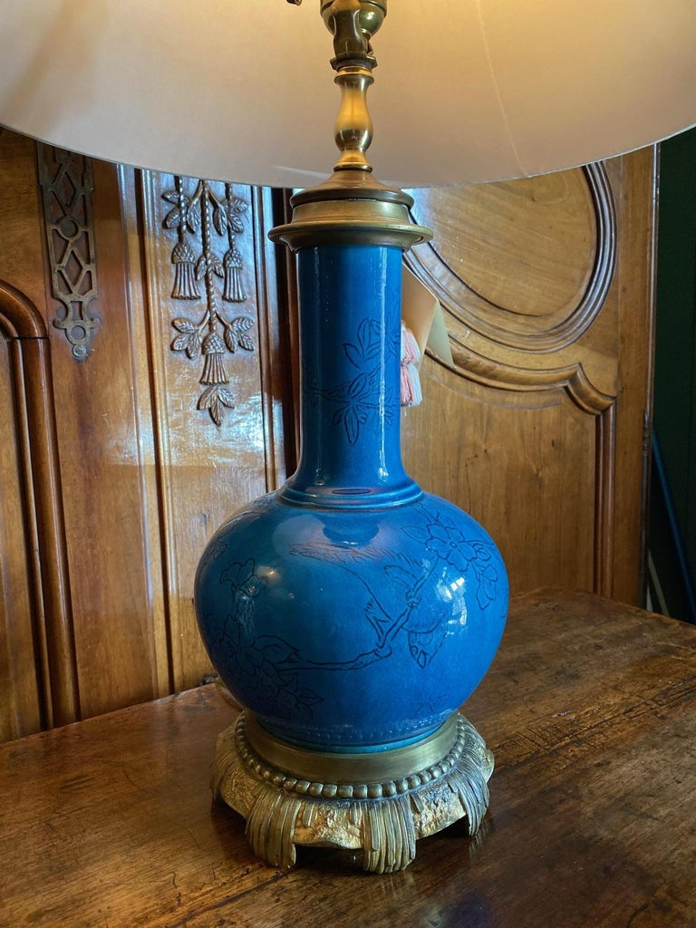 European 18th C. Table Lamp Ceramic Baluster Chinese blue Vase & Shade Finial Antiques LA For Sale