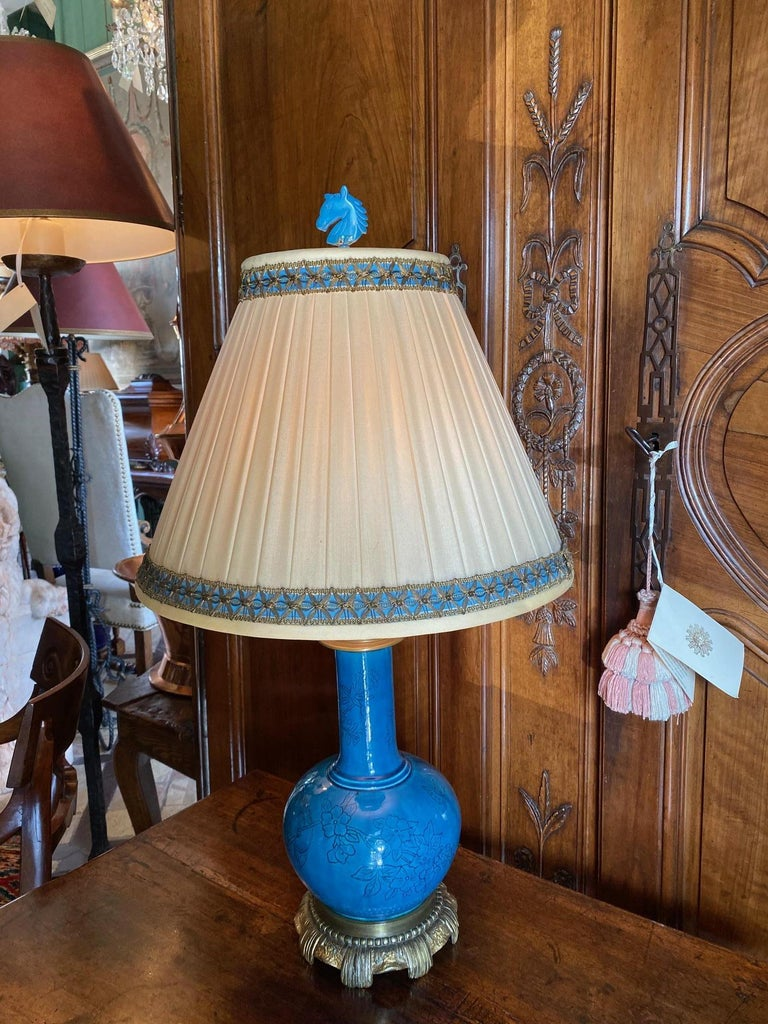 18th C. Table Lamp Ceramic Baluster Chinese blue Vase & Shade Finial Antiques LA For Sale 2