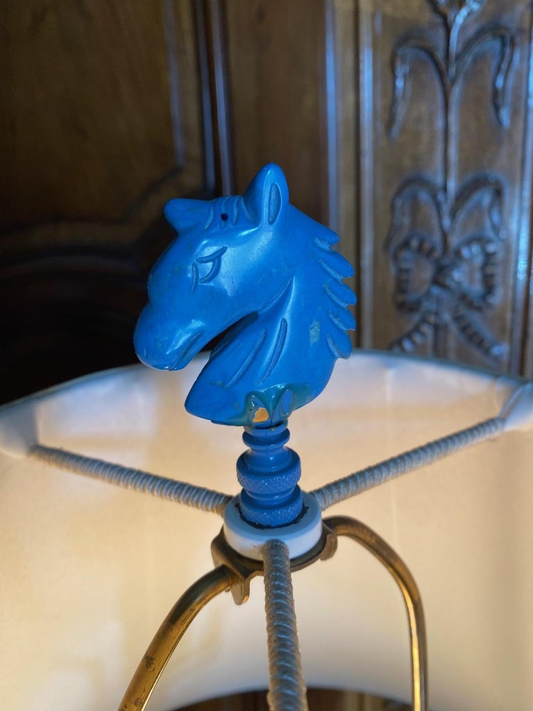 18th C. Table Lamp Ceramic Baluster Chinese blue Vase & Shade Finial Antiques LA For Sale 3
