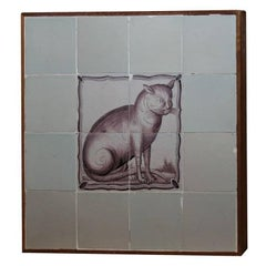 18th C Delft Tile Cat