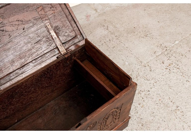 Rustic 18th Century Diminutive Carved Mahogany Chest For Sale