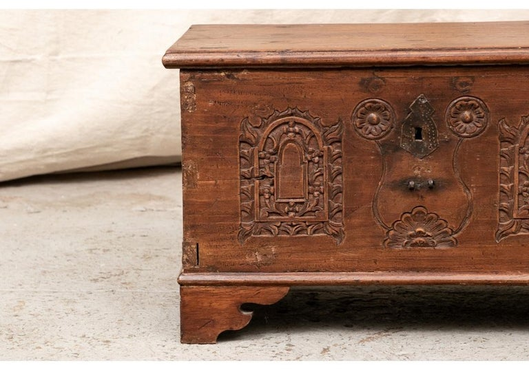 18th Century Diminutive Carved Mahogany Chest In Distressed Condition For Sale In Bridgeport, CT