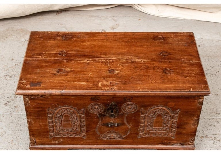 18th Century and Earlier 18th Century Diminutive Carved Mahogany Chest For Sale