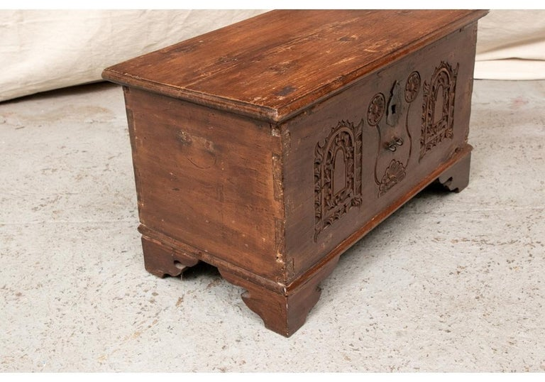 18th Century Diminutive Carved Mahogany Chest For Sale 1