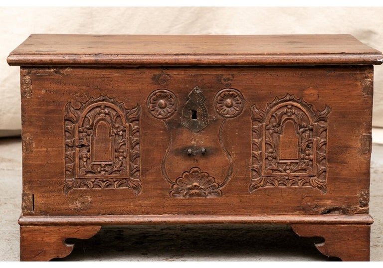 18th Century Diminutive Carved Mahogany Chest For Sale 4