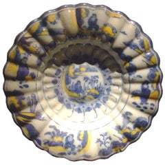 18th c. Dutch Delft Lobed Sweetmeat Dish