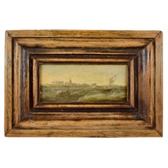 18th Century Dutch Oil on Board Seascape Painting, Custom Walnut Wood Frame