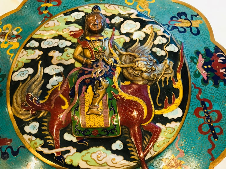 19th Century Emperor-on-Dragon and Lucky-Bat Design, Qing Dynasty Cloisonné Box For Sale 3