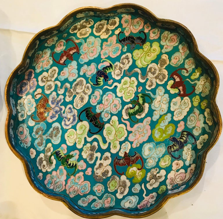 Cast 19th Century Emperor-on-Dragon and Lucky-Bat Design, Qing Dynasty Cloisonné Box For Sale