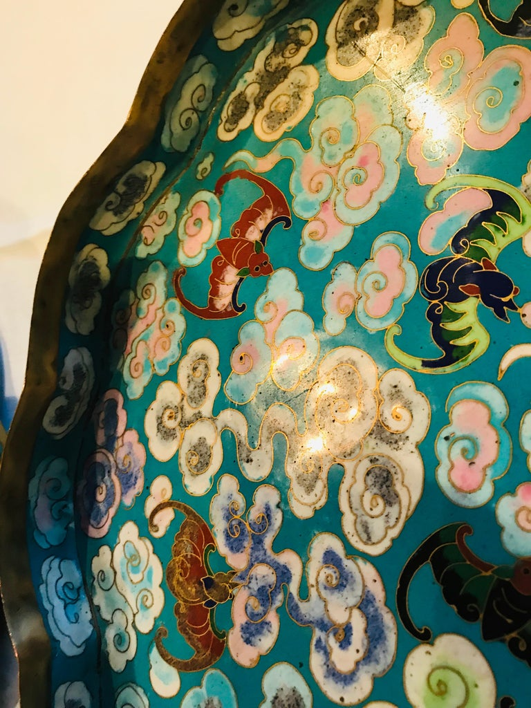 20th Century 19th Century Emperor-on-Dragon and Lucky-Bat Design, Qing Dynasty Cloisonné Box For Sale