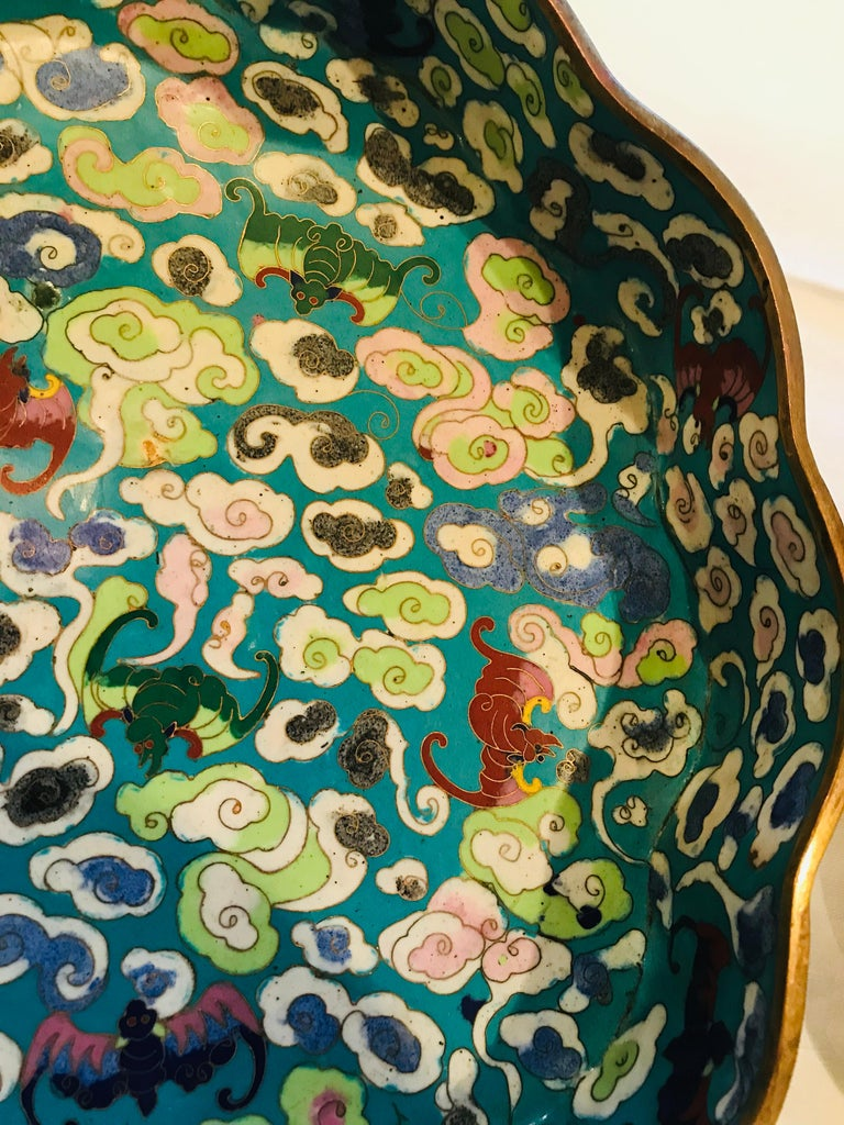 19th Century Emperor-on-Dragon and Lucky-Bat Design, Qing Dynasty Cloisonné Box For Sale 1