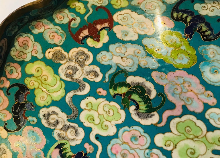 19th Century Emperor-on-Dragon and Lucky-Bat Design, Qing Dynasty Cloisonné Box For Sale 2
