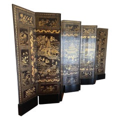 Fine Chinese Export Black and Gilt Lacquered Eight-Panel Folding Screen
