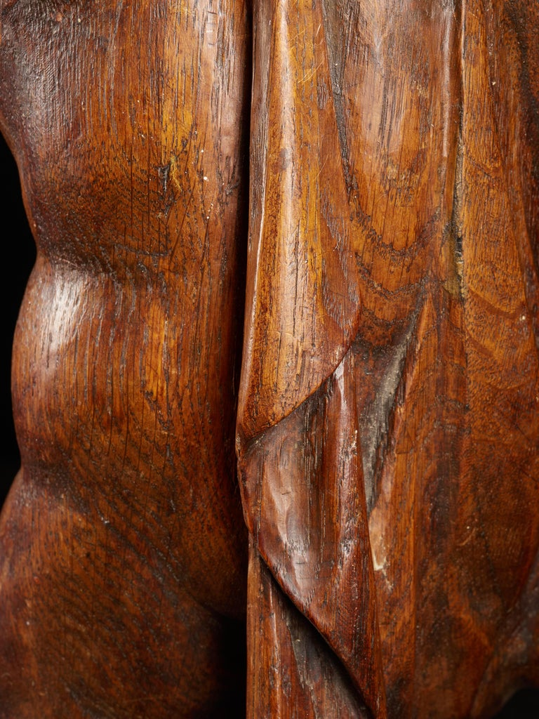 18th Century Flemish Shool, Baroque Angel Sculpture or Butti, Carved in Oak For Sale 6