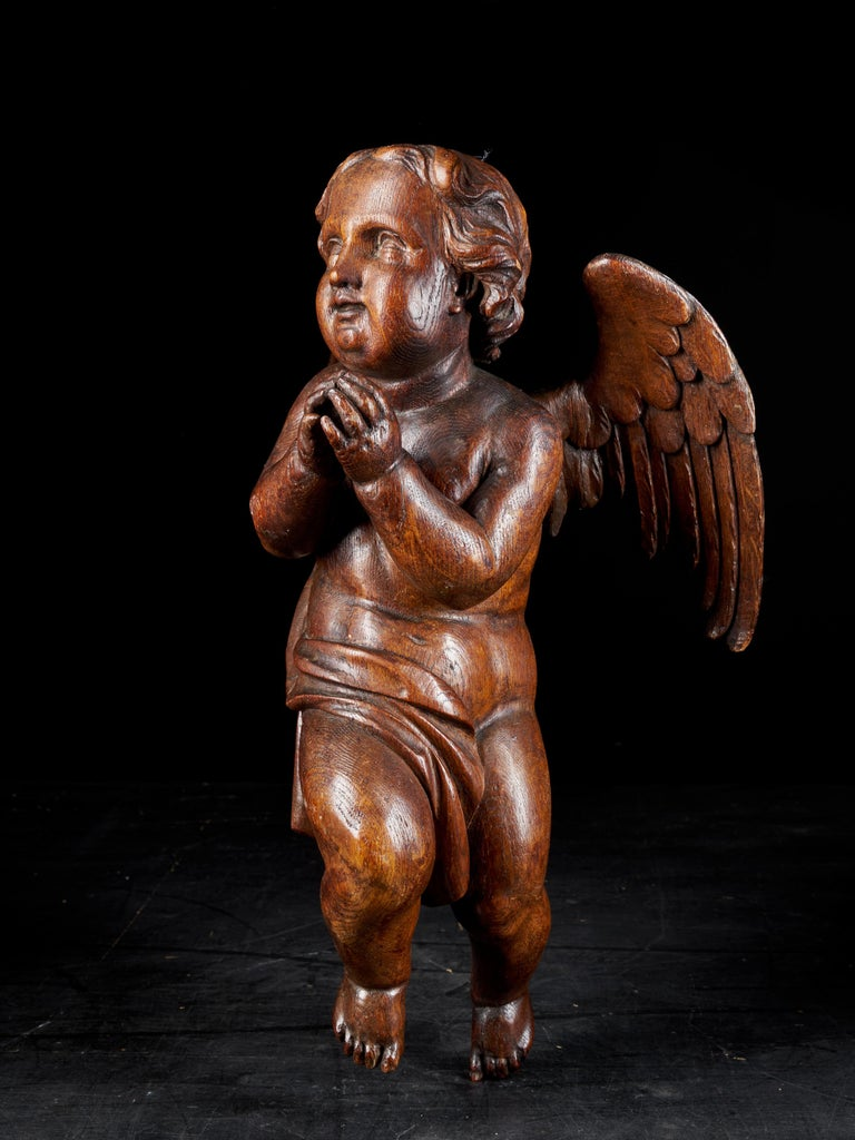 An 18th century Baroque Angel sculpture carved in oakwood. Wonderful details in Angel's hair and wings. The figure can be hung on the wall and has a very nice age patina.