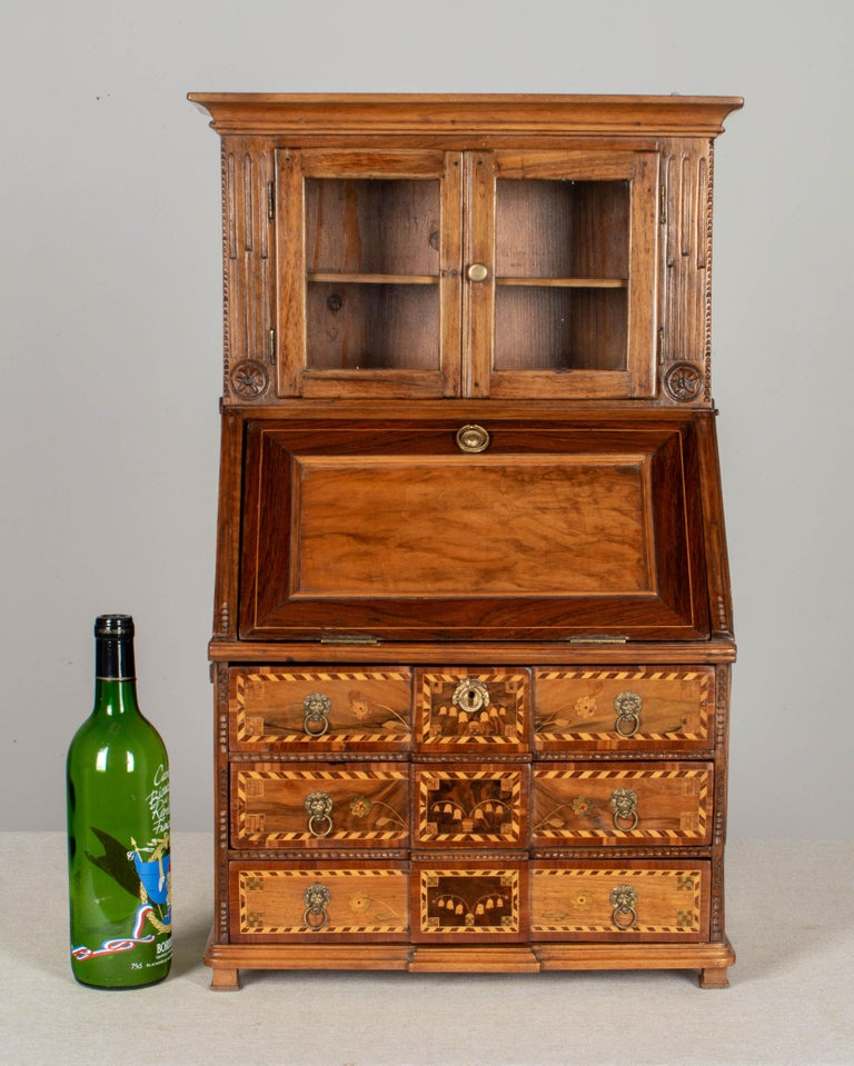 18th Century French Louis XVI Miniature Marquetry Secretaire or Desk For Sale 8