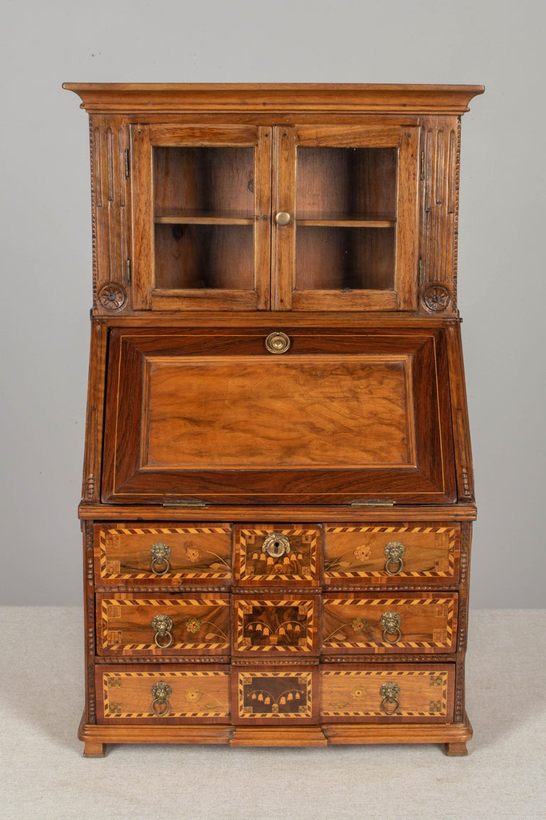 Cast 18th Century French Louis XVI Miniature Marquetry Secretaire or Desk For Sale