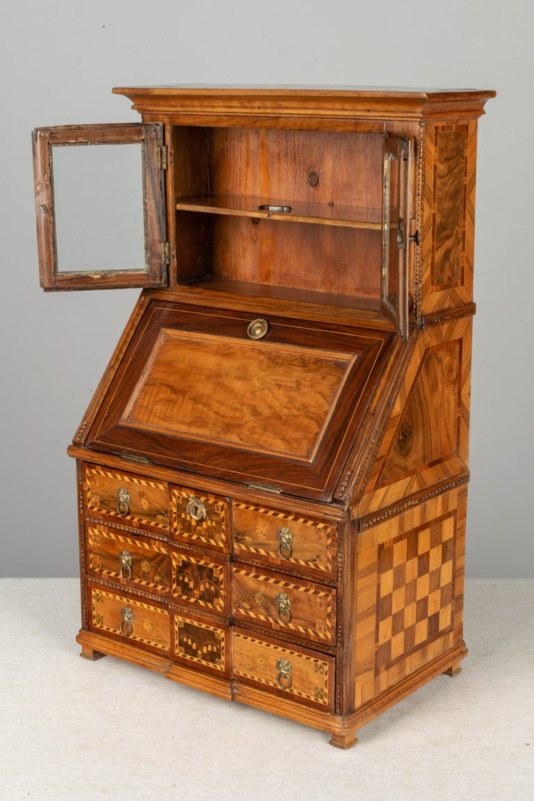 Brass 18th Century French Louis XVI Miniature Marquetry Secretaire or Desk For Sale