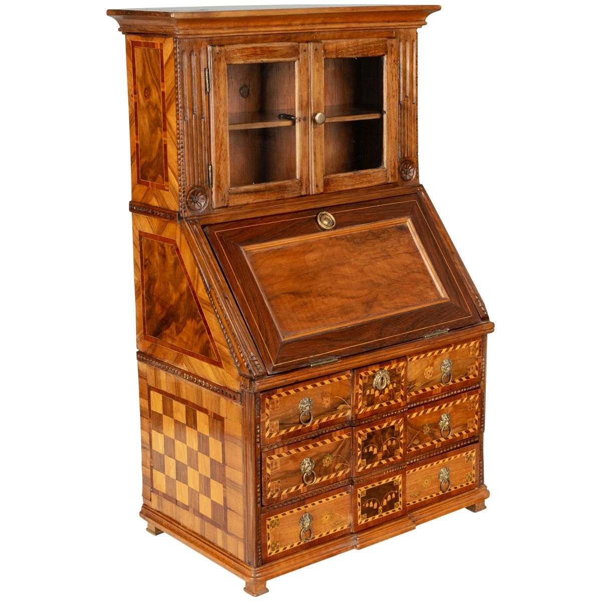 18th Century French Louis XVI Miniature Marquetry Secretaire or Desk