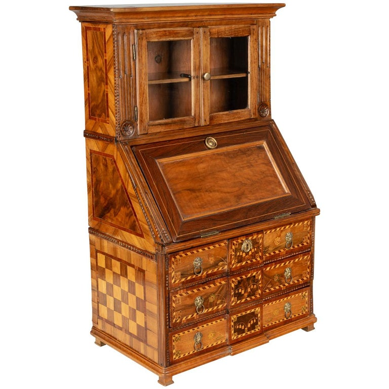18th Century French Louis XVI Miniature Marquetry Secretaire or Desk For Sale