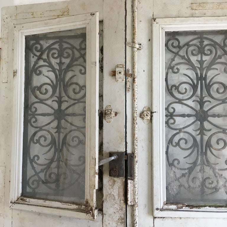 18th Century French Oak Chateau Doors with Transom For Sale 7