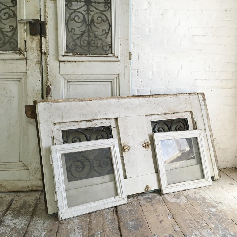 18th Century French Oak Chateau Doors with Transom For Sale 8