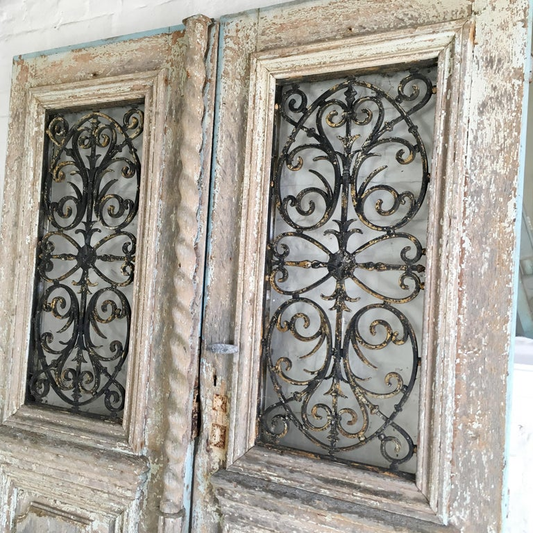Hand-Carved 18th Century French Oak Chateau Doors with Transom For Sale