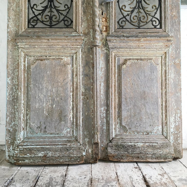Wrought Iron 18th Century French Oak Chateau Doors with Transom For Sale