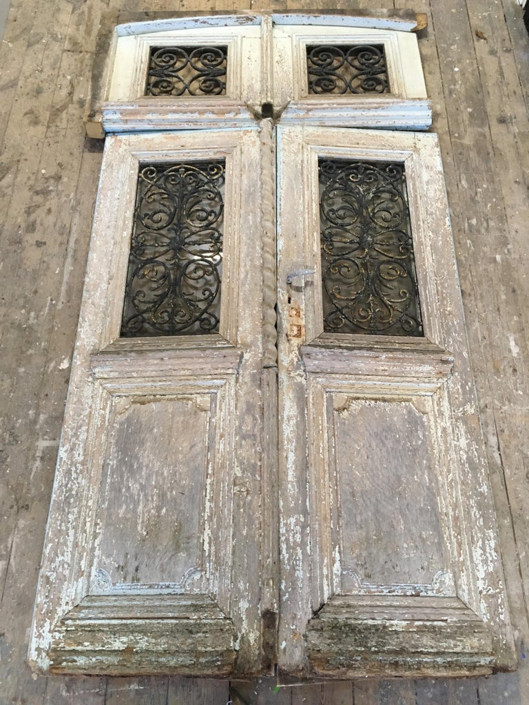 18th Century French Oak Chateau Doors with Transom For Sale 2