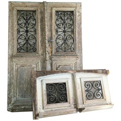 18th Century French Oak Chateau Doors with Transom