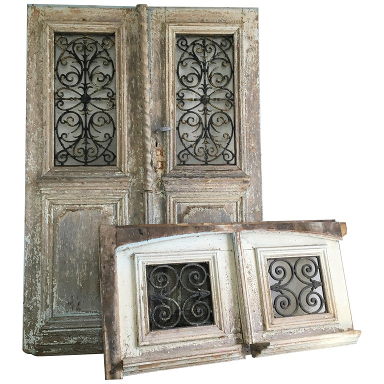 18th Century French Oak Chateau Doors with Transom For Sale