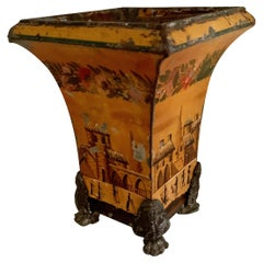 18th C. French Tole Planter or Cachepot with Claw Feet