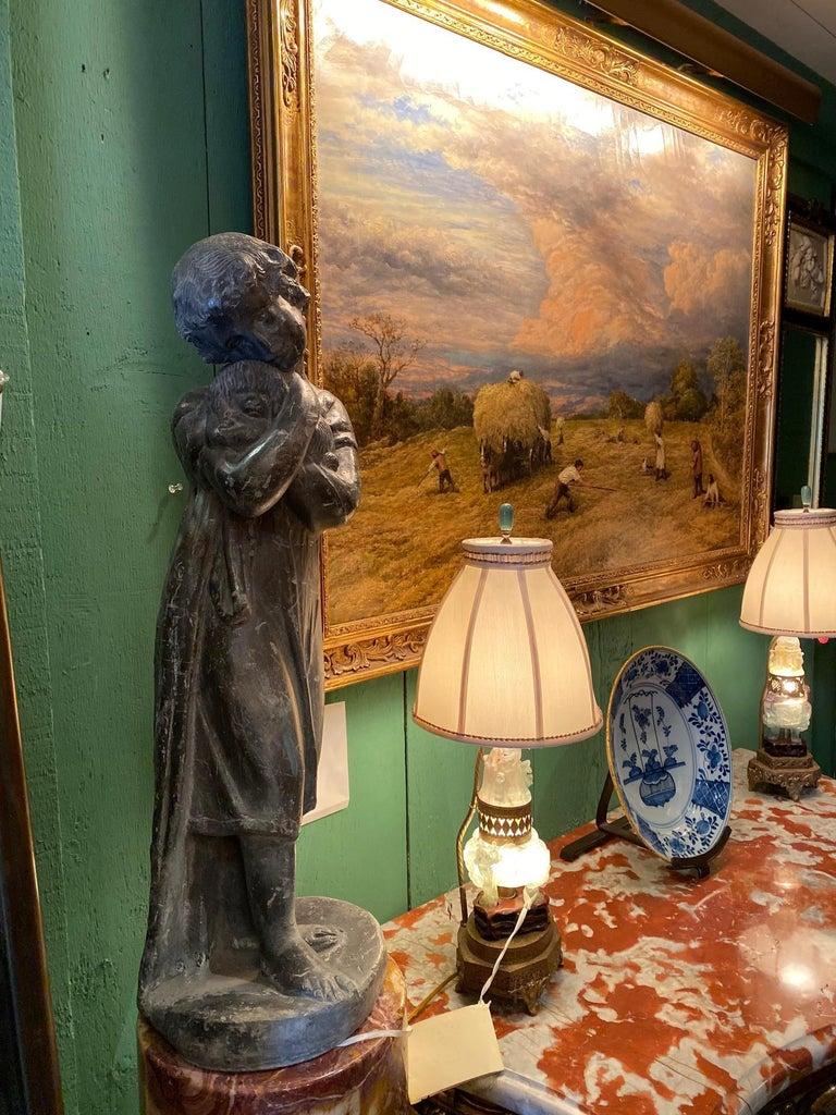 Garden Lead Statue Girl & Puppy Dog Figure Sculpture Antiques Decorative Melrose For Sale 4
