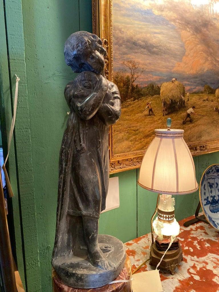 Garden Lead Statue Girl & Puppy Dog Figure Sculpture Antiques Decorative Melrose For Sale 5
