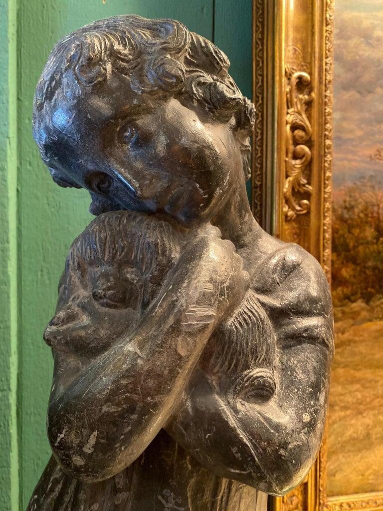 Garden Lead Statue Girl & Puppy Dog Figure Sculpture Antiques Decorative Melrose For Sale 6