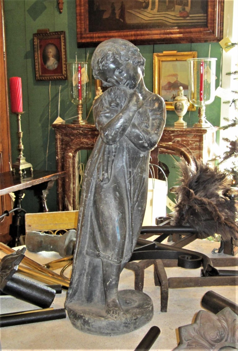 Garden Lead Statue Girl & Puppy Dog Figure Sculpture Antiques Decorative Melrose For Sale 7