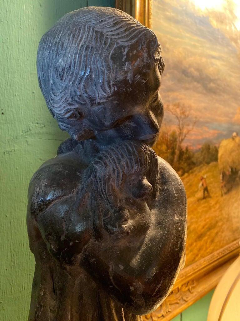 European Garden Lead Statue Girl & Puppy Dog Figure Sculpture Antiques Decorative Melrose For Sale