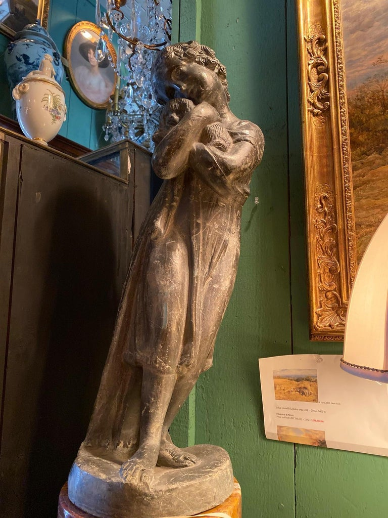 Garden Lead Statue Girl & Puppy Dog Figure Sculpture Antiques Decorative Melrose In Good Condition For Sale In West Hollywood, CA
