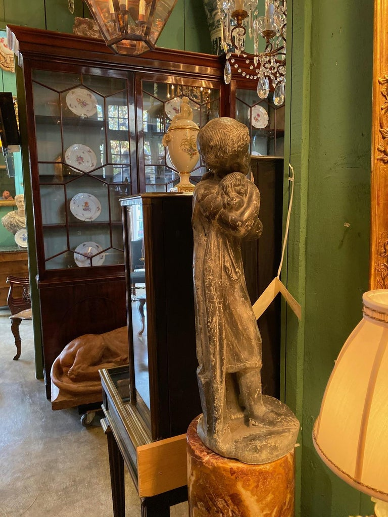 Garden Lead Statue Girl & Puppy Dog Figure Sculpture Antiques Decorative Melrose For Sale 1