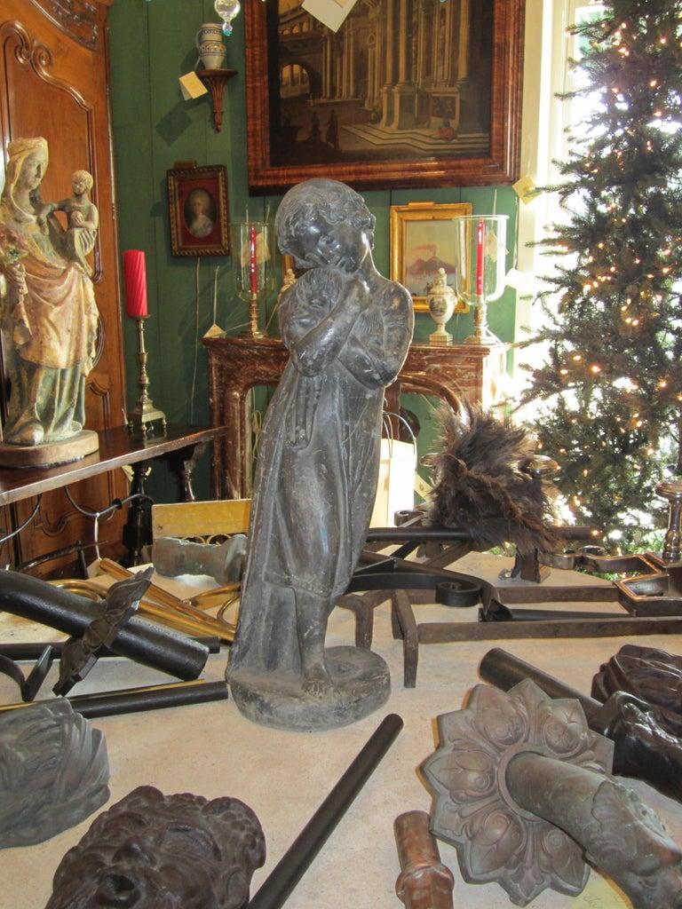 Garden Lead Statue Girl & Puppy Dog Figure Sculpture Antiques Decorative Melrose For Sale 2