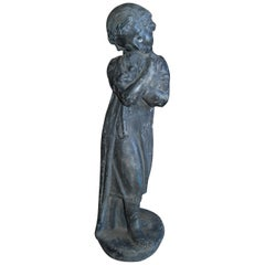 Garden Lead Statue Girl & Puppy Dog Figure Sculpture Antiques Decorative