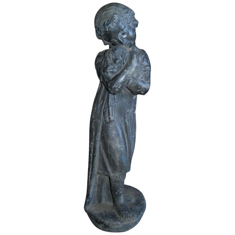 Garden Lead Statue Girl & Puppy Dog Figure Sculpture Antiques Decorative Melrose For Sale
