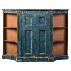 18th C George III Blue Painted Side Cabinet with Open Side Shelves
