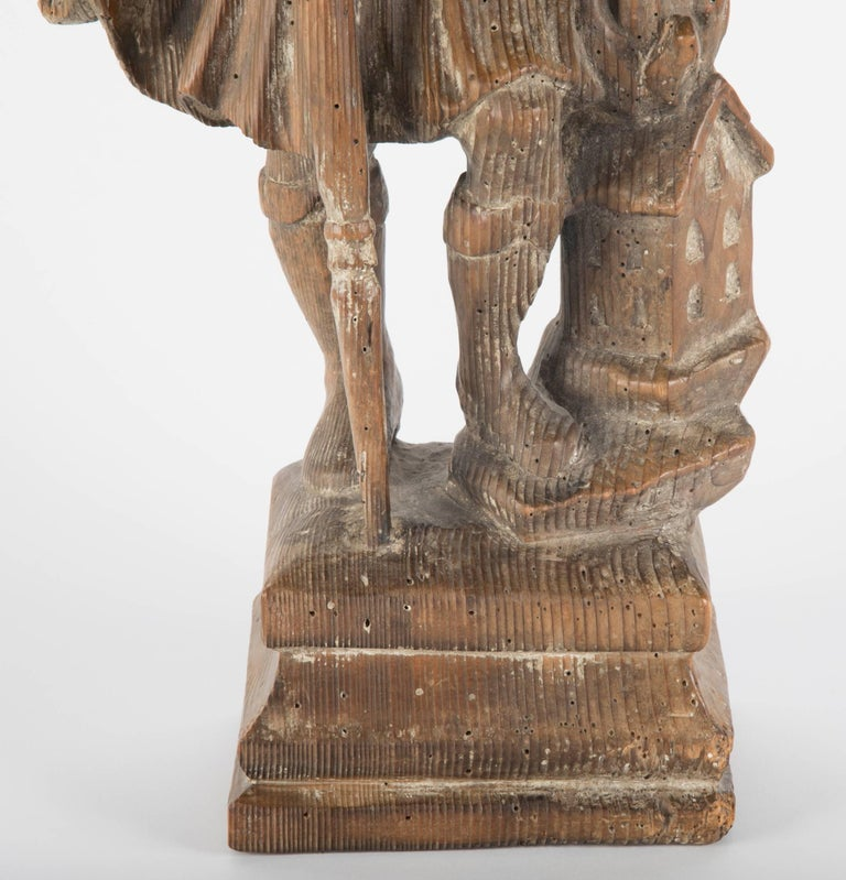 18th Century German Carved Wood Figure of Saint Florian In Excellent Condition For Sale In Stamford, CT