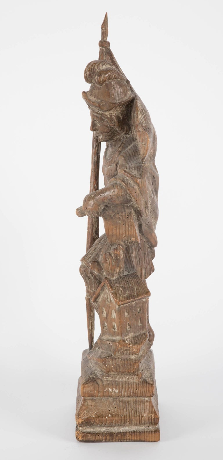 18th Century German Carved Wood Figure of Saint Florian For Sale 1