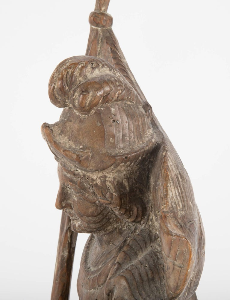 18th Century German Carved Wood Figure of Saint Florian For Sale 2
