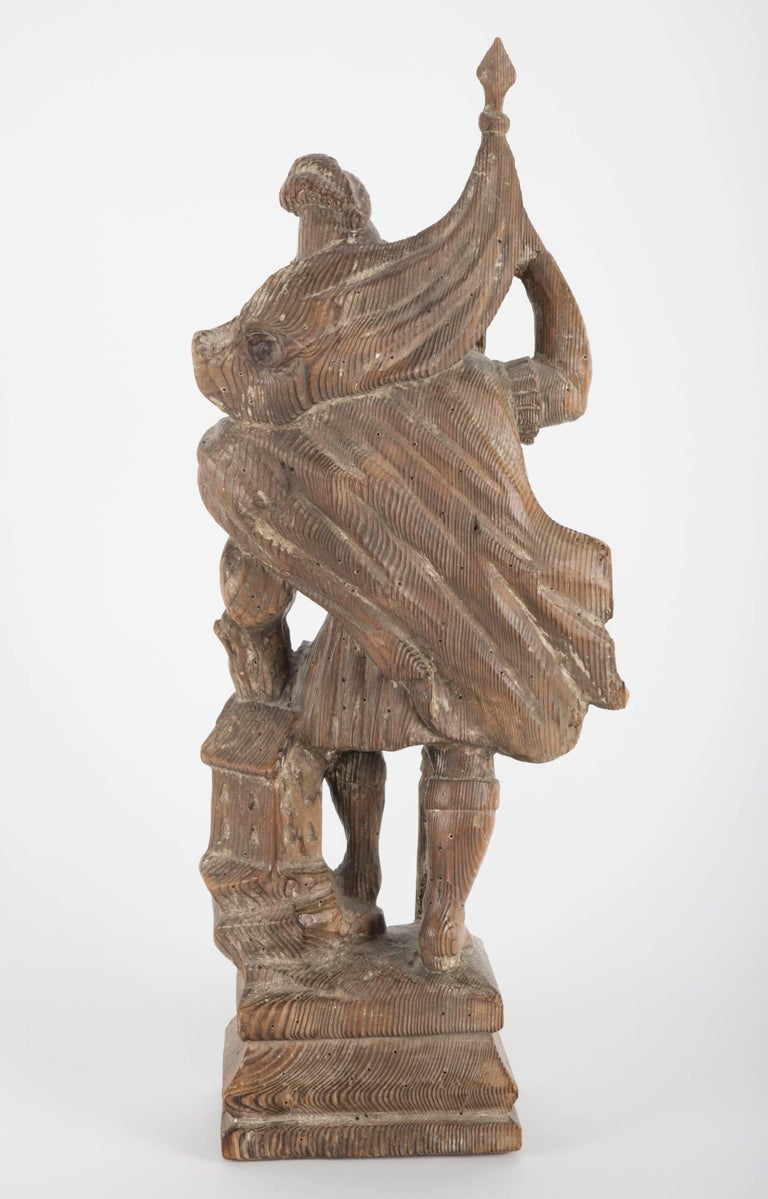 18th Century German Carved Wood Figure of Saint Florian For Sale 3