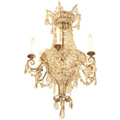 18th C. Italian Gilt Iron And Crystal Basket Chandelier