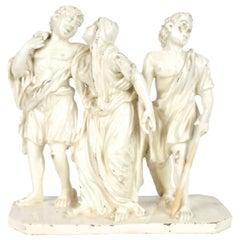 """18th Century Italian Group, """"Fleeing the Eruption of Mt. Vesuvius"""" in Pompeii"""